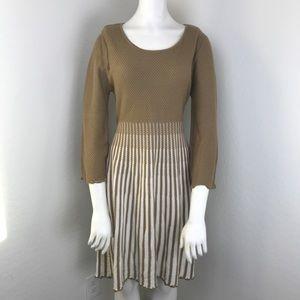 Calvin Klein Tan & Cream Long Sleeve Knot Dress